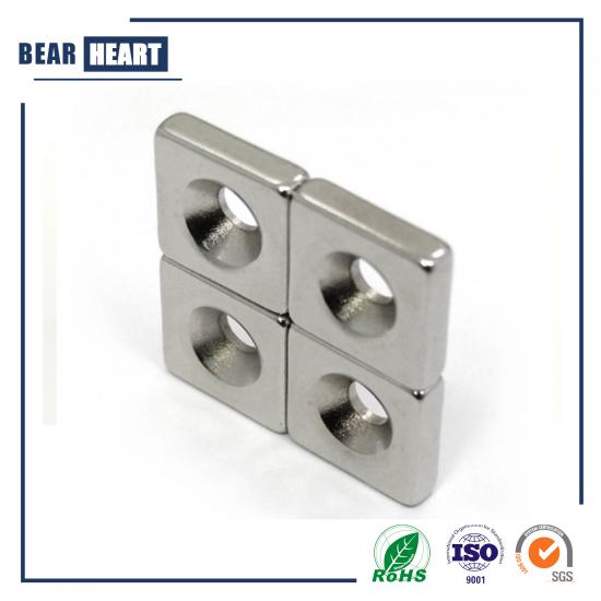 High Quality Ndfeb Block Countersunk Holes Magnet